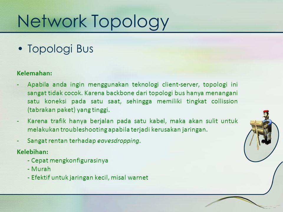 Network Topology •Topologi Bus Kelemahan: -Apabila anda ingin menggunakan teknologi client-server, topologi ini sangat tidak cocok. Karena backbone da