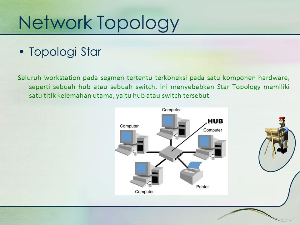 Network Topology •Topologi Star Seluruh workstation pada segmen tertentu terkoneksi pada satu komponen hardware, seperti sebuah hub atau sebuah switch
