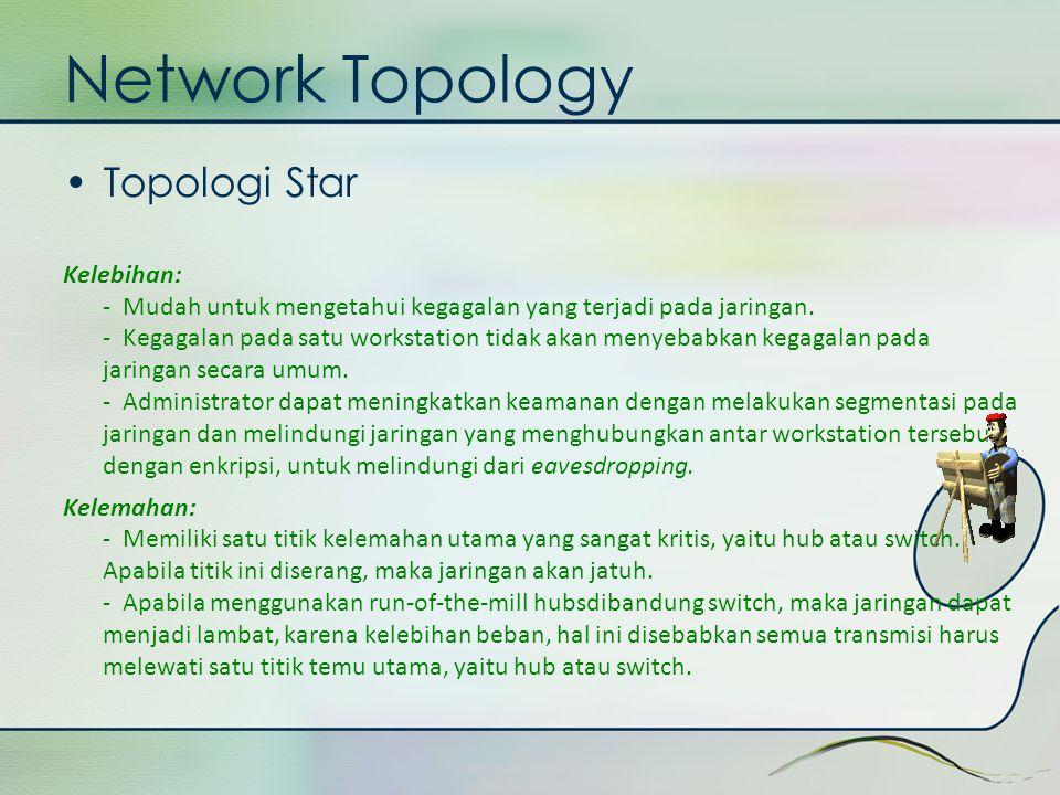 Network Topology •Topologi Star Kelebihan: - Mudah untuk mengetahui kegagalan yang terjadi pada jaringan. - Kegagalan pada satu workstation tidak akan
