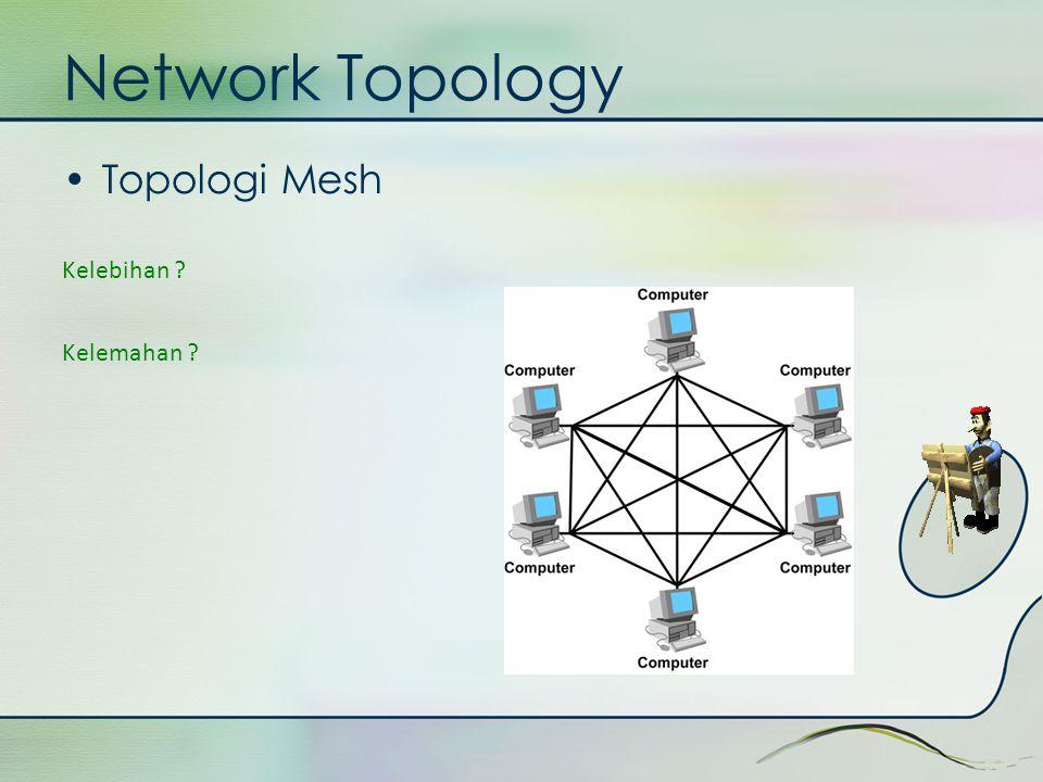 Network Topology •Topologi Mesh Kelebihan ? Kelemahan ?