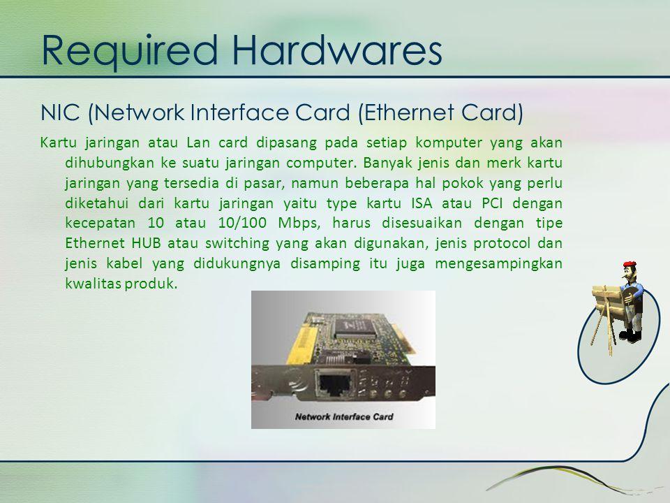 Required Hardwares NIC (Network Interface Card (Ethernet Card) Kartu jaringan atau Lan card dipasang pada setiap komputer yang akan dihubungkan ke sua