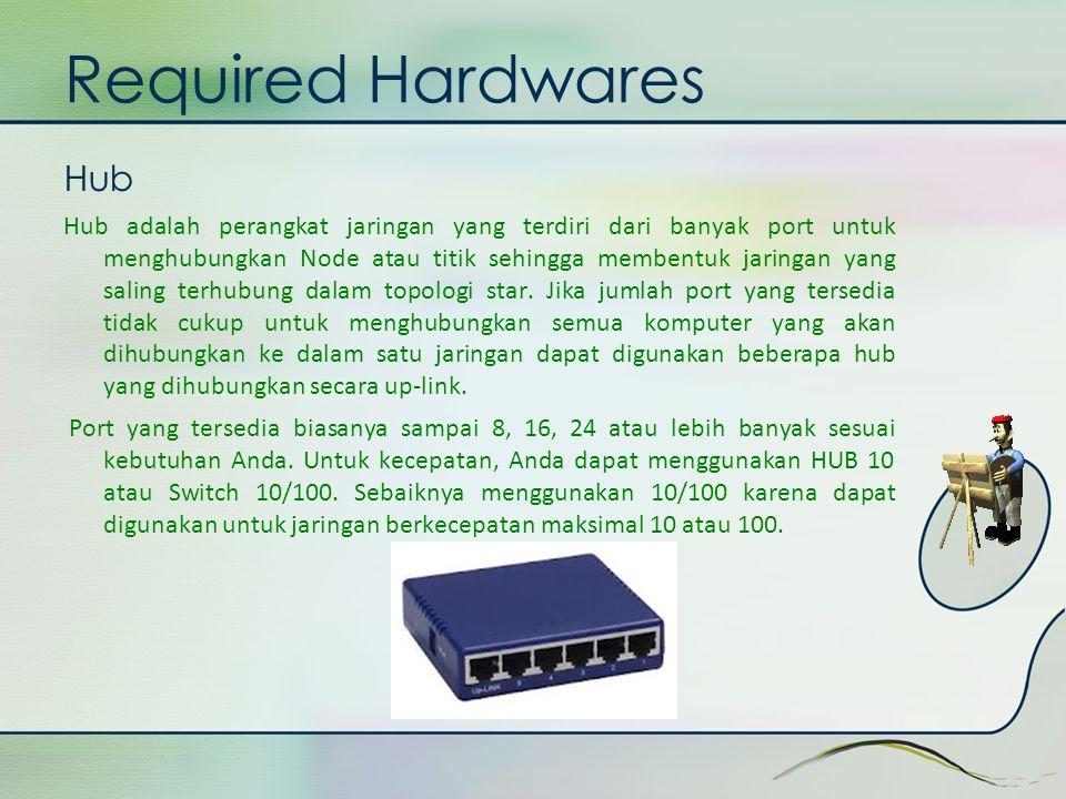 Required Hardwares Hub Hub adalah perangkat jaringan yang terdiri dari banyak port untuk menghubungkan Node atau titik sehingga membentuk jaringan yan