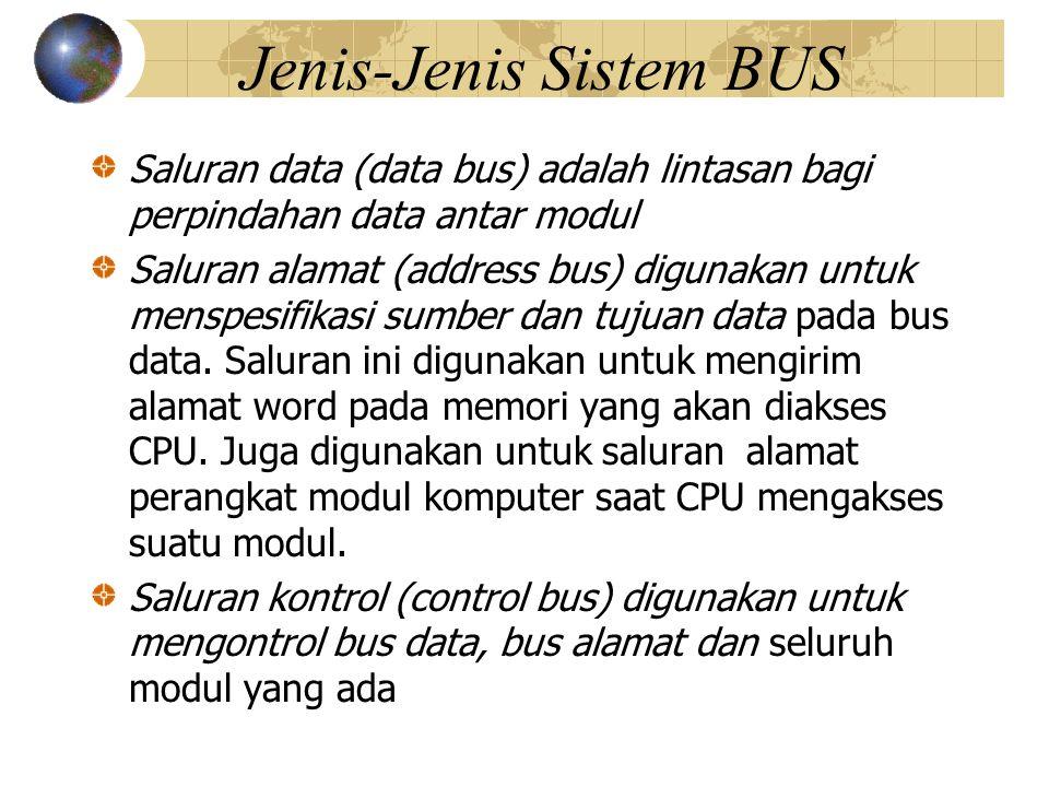 Secara umum saluran kontrol meliputi Memory Write, memerintahkan data pada bus akan dituliskan ke dalam lokasi alamat.