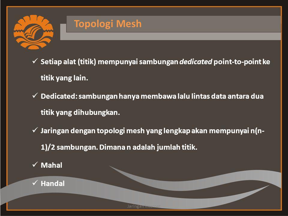 Topologi Mesh  Setiap alat (titik) mempunyai sambungan dedicated point-to-point ke titik yang lain.