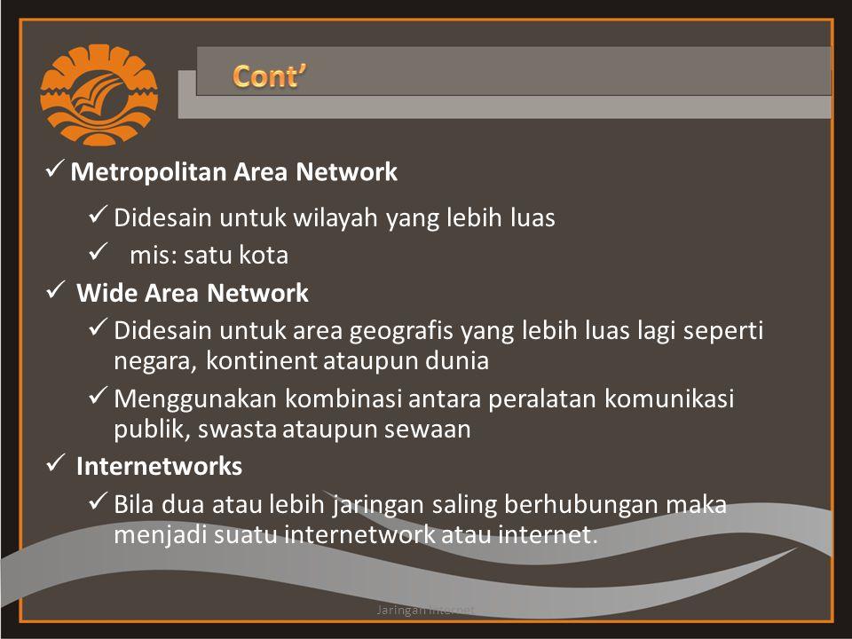  Didesain untuk wilayah yang lebih luas  mis: satu kota  Wide Area Network  Didesain untuk area geografis yang lebih luas lagi seperti negara, kontinent ataupun dunia  Menggunakan kombinasi antara peralatan komunikasi publik, swasta ataupun sewaan  Internetworks  Bila dua atau lebih jaringan saling berhubungan maka menjadi suatu internetwork atau internet.