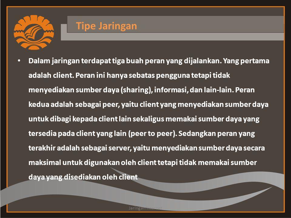 Tipe Jaringan • Dalam jaringan terdapat tiga buah peran yang dijalankan.