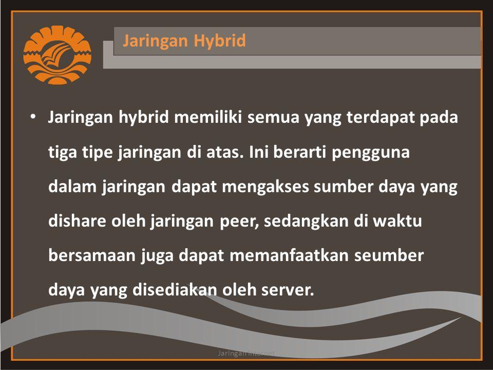 Jaringan Hybrid • Jaringan hybrid memiliki semua yang terdapat pada tiga tipe jaringan di atas.