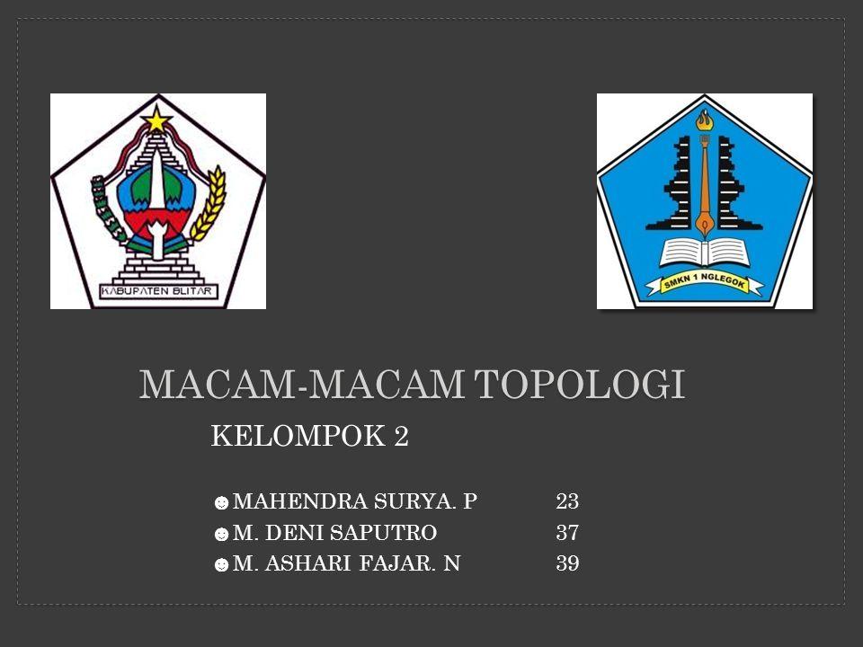 MACAM-MACAM TOPOLOGI KELOMPOK 2 ☻ MAHENDRA SURYA. P23 ☻ M. DENI SAPUTRO37 ☻ M. ASHARI FAJAR. N39