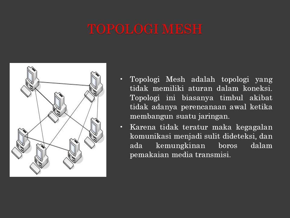 TOPOLOGI MESH •Topologi Mesh adalah topologi yang tidak memiliki aturan dalam koneksi.