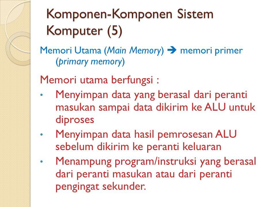 Komponen-Komponen Sistem Komputer (5) Memori Utama (Main Memory)  memori primer (primary memory) Memori utama berfungsi : • Menyimpan data yang berasal dari peranti masukan sampai data dikirim ke ALU untuk diproses • Menyimpan data hasil pemrosesan ALU sebelum dikirim ke peranti keluaran • Menampung program/instruksi yang berasal dari peranti masukan atau dari peranti pengingat sekunder.