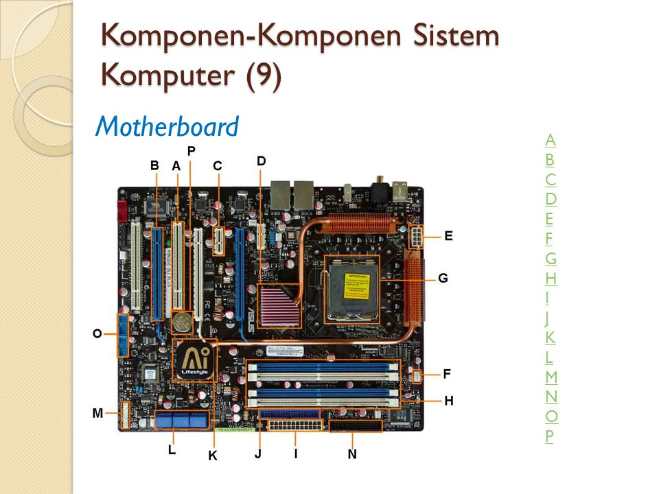 Komponen-Komponen Sistem Komputer (9) Motherboard ABCDEFGHIJKLMNOPABCDEFGHIJKLMNOP