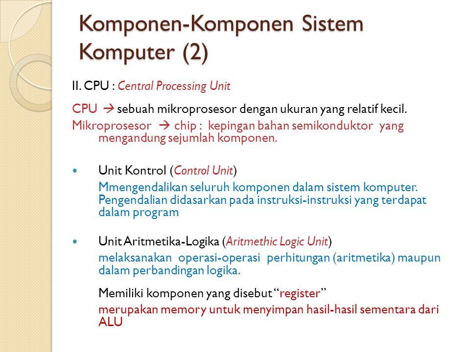 Komponen-Komponen Sistem Komputer (3) Kecepatan CPU CPU menjalankan sejumlah instruksi per detik, jumlah instruksi dalam jutaan sehingga dikenal istilah MIPS.