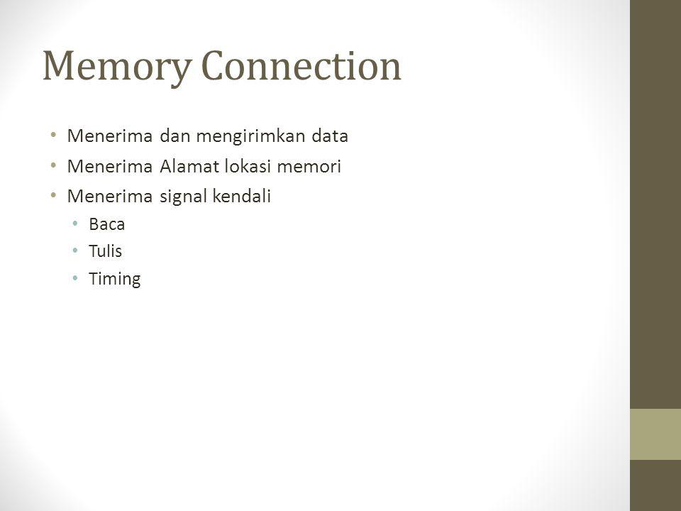 Memory Connection • Menerima dan mengirimkan data • Menerima Alamat lokasi memori • Menerima signal kendali • Baca • Tulis • Timing