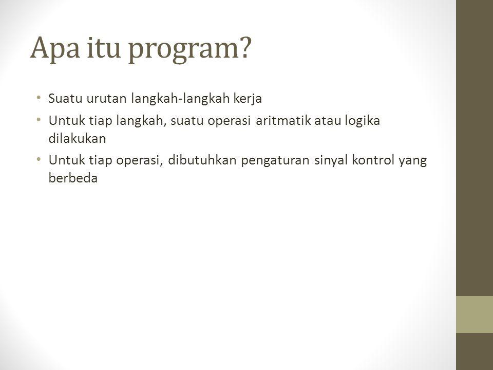 Apa itu program? • Suatu urutan langkah-langkah kerja • Untuk tiap langkah, suatu operasi aritmatik atau logika dilakukan • Untuk tiap operasi, dibutu