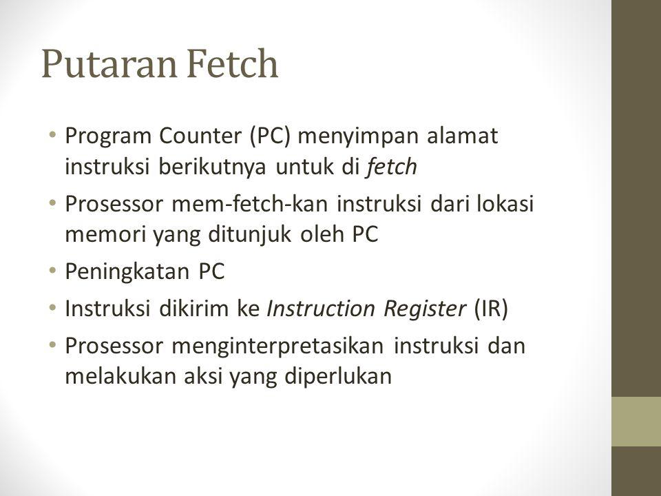 Putaran Fetch • Program Counter (PC) menyimpan alamat instruksi berikutnya untuk di fetch • Prosessor mem-fetch-kan instruksi dari lokasi memori yang