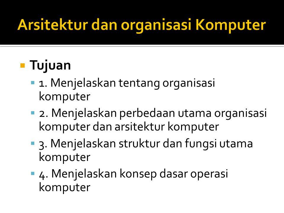  Tujuan  1. Menjelaskan tentang organisasi komputer  2. Menjelaskan perbedaan utama organisasi komputer dan arsitektur komputer  3. Menjelaskan st