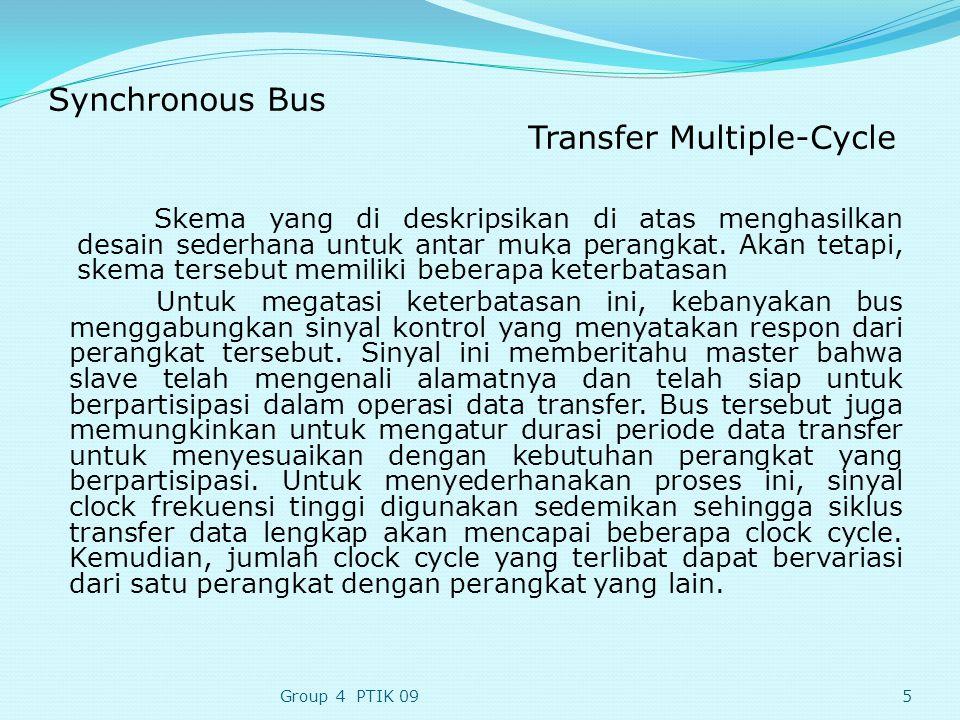 Synchronous Bus Transfer Multiple-Cycle Skema yang di deskripsikan di atas menghasilkan desain sederhana untuk antar muka perangkat.