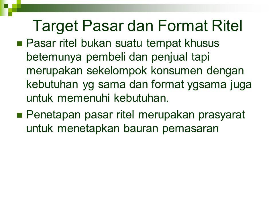 Target Pasar dan Format Ritel  Pasar ritel bukan suatu tempat khusus betemunya pembeli dan penjual tapi merupakan sekelompok konsumen dengan kebutuha