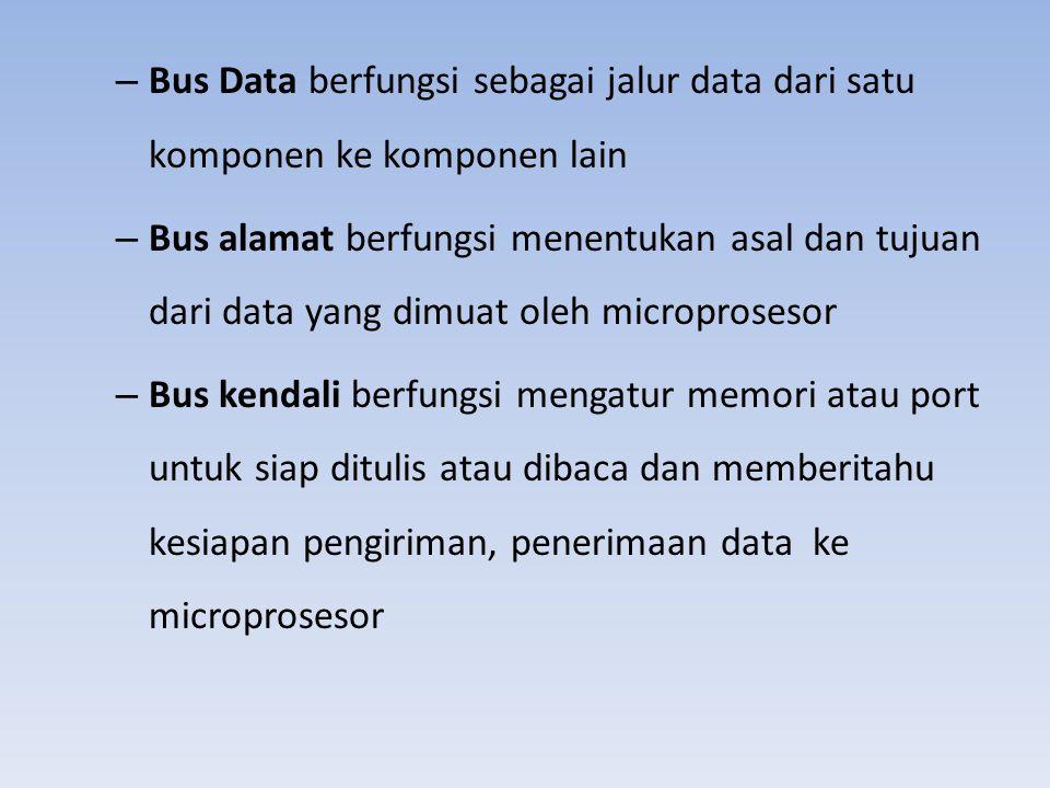 – Bus Data berfungsi sebagai jalur data dari satu komponen ke komponen lain – Bus alamat berfungsi menentukan asal dan tujuan dari data yang dimuat ol
