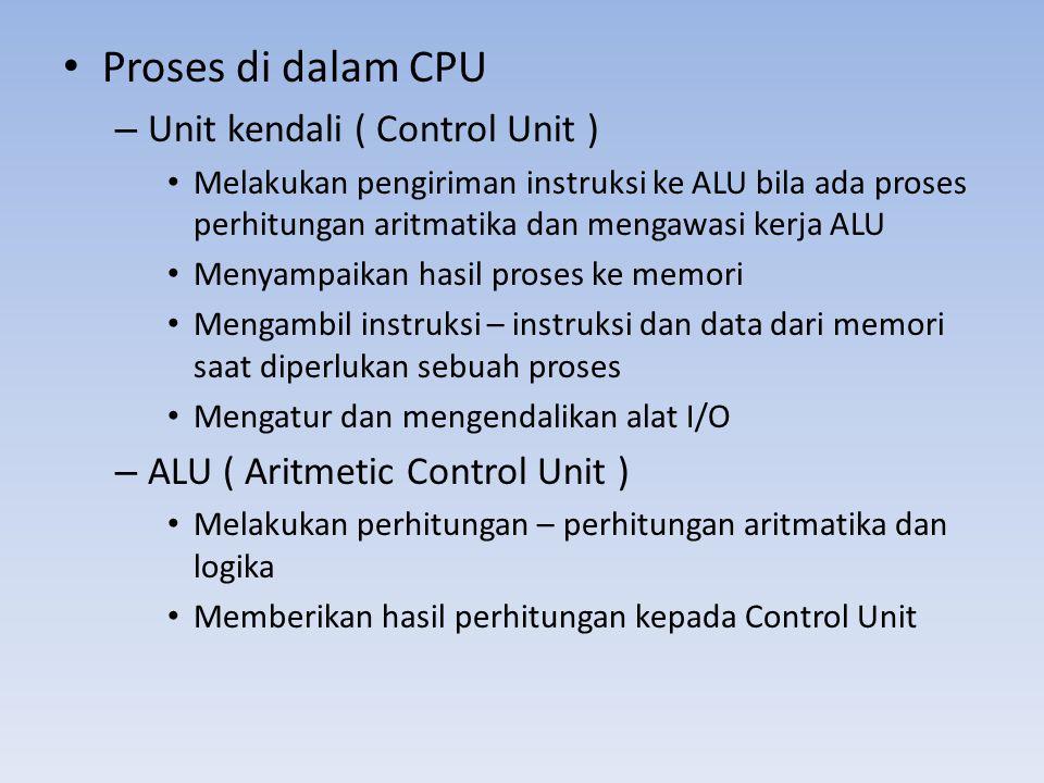 • Proses di dalam CPU – Unit kendali ( Control Unit ) • Melakukan pengiriman instruksi ke ALU bila ada proses perhitungan aritmatika dan mengawasi ker