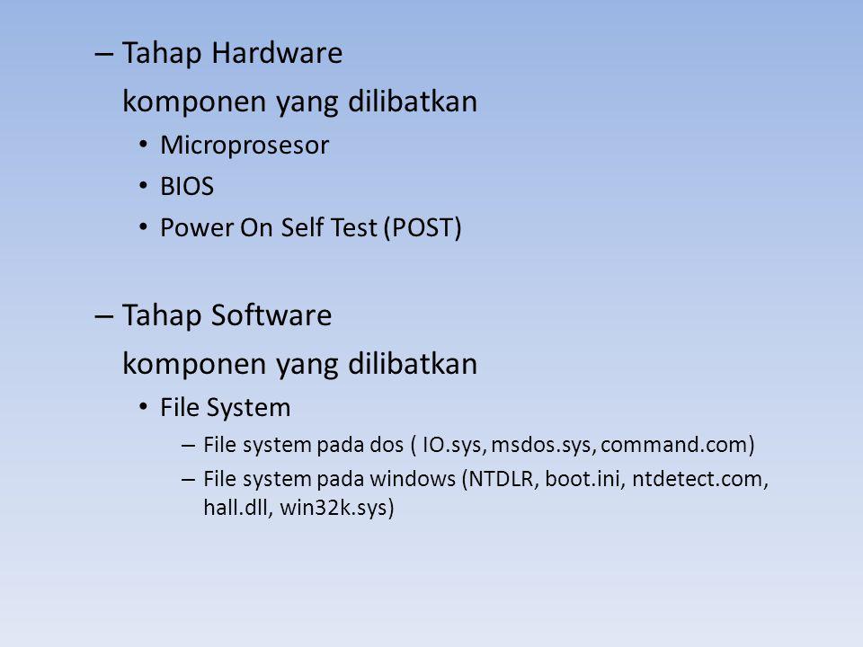 – Tahap Hardware komponen yang dilibatkan • Microprosesor • BIOS • Power On Self Test (POST) – Tahap Software komponen yang dilibatkan • File System –