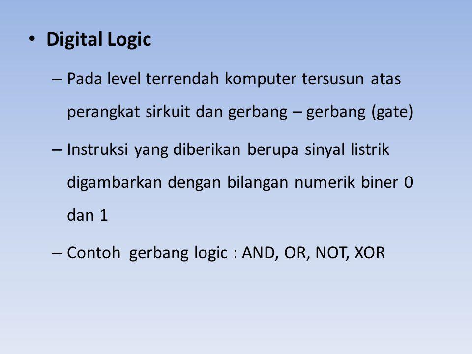 • Digital Logic – Pada level terrendah komputer tersusun atas perangkat sirkuit dan gerbang – gerbang (gate) – Instruksi yang diberikan berupa sinyal