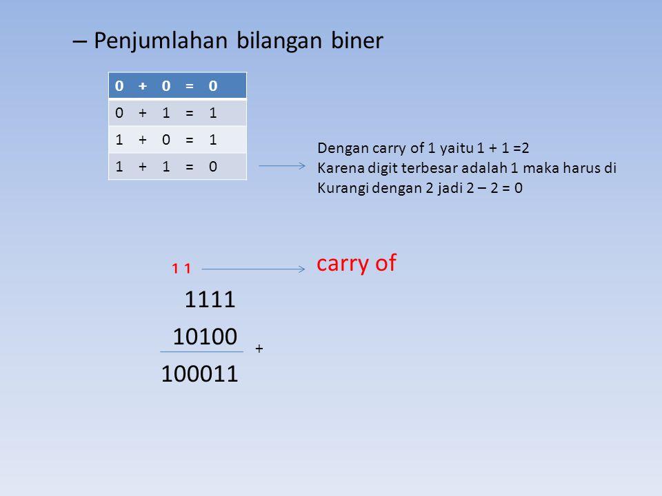 – Penjumlahan bilangan biner ₁ ₁ carry of 1111 10100 100011 0 + 0 = 0 0 + 1 = 1 1 + 0 = 1 1 + 1 = 0 Dengan carry of 1 yaitu 1 + 1 =2 Karena digit terb