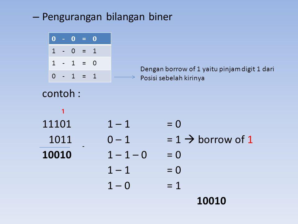– Pengurangan bilangan biner contoh : ₁ 111011 – 1 = 0 10110 – 1 = 1  borrow of 1 100101 – 1 – 0 = 0 1 – 1 = 0 1 – 0 = 1 10010 0 - 0 = 0 1 - 0 = 1 1
