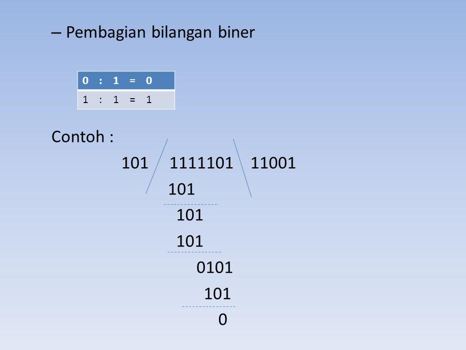 – Pembagian bilangan biner Contoh : 101 1111101 11001 101 0101 101 0 0 : 1 = 0 1 : 1 = 1