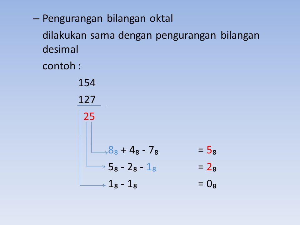 – Pengurangan bilangan oktal dilakukan sama dengan pengurangan bilangan desimal contoh : 154 127 25 8₈ + 4₈ - 7₈ = 5₈ 5₈ - 2₈ - 1₈ = 2₈ 1₈ - 1₈= 0₈ -