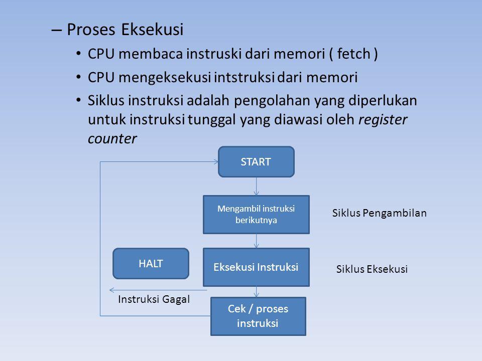 – Proses Eksekusi • CPU membaca instruski dari memori ( fetch ) • CPU mengeksekusi intstruksi dari memori • Siklus instruksi adalah pengolahan yang di