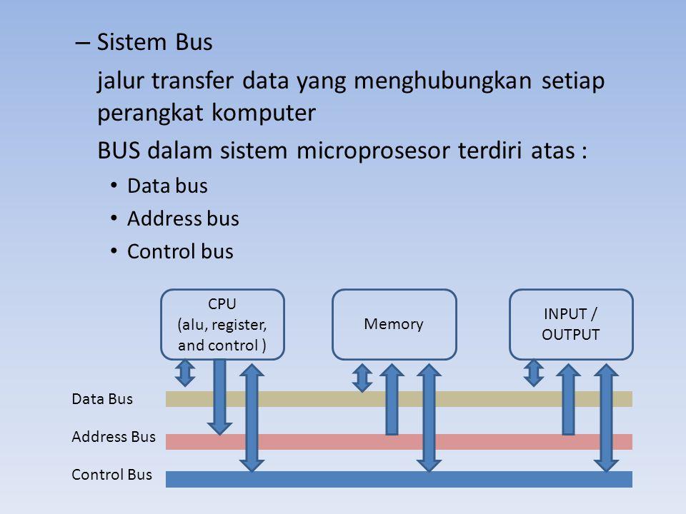 – Sistem Bus jalur transfer data yang menghubungkan setiap perangkat komputer BUS dalam sistem microprosesor terdiri atas : • Data bus • Address bus •
