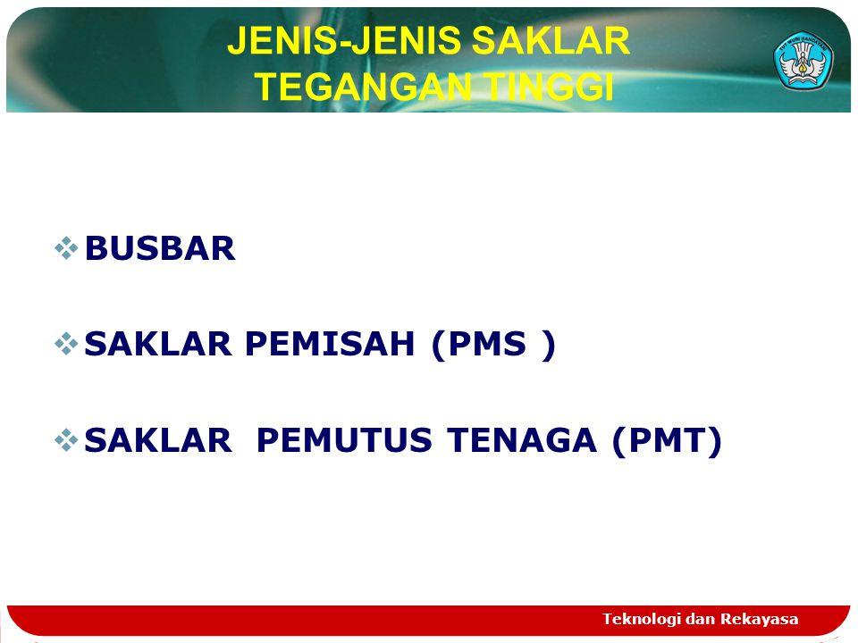 JENIS-JENIS SAKLAR TEGANGAN TINGGI  BUSBAR  SAKLAR PEMISAH (PMS )  SAKLAR PEMUTUS TENAGA (PMT)