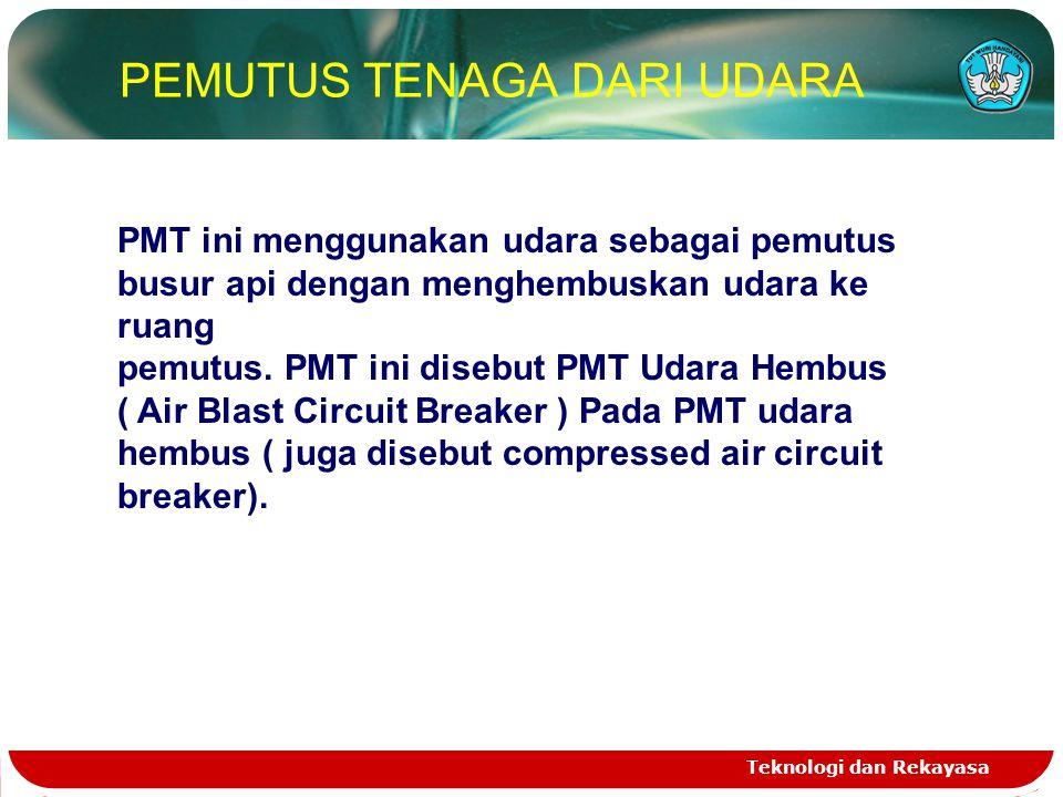 Teknologi dan Rekayasa PEMUTUS TENAGA DARI UDARA PMT ini menggunakan udara sebagai pemutus busur api dengan menghembuskan udara ke ruang pemutus. PMT