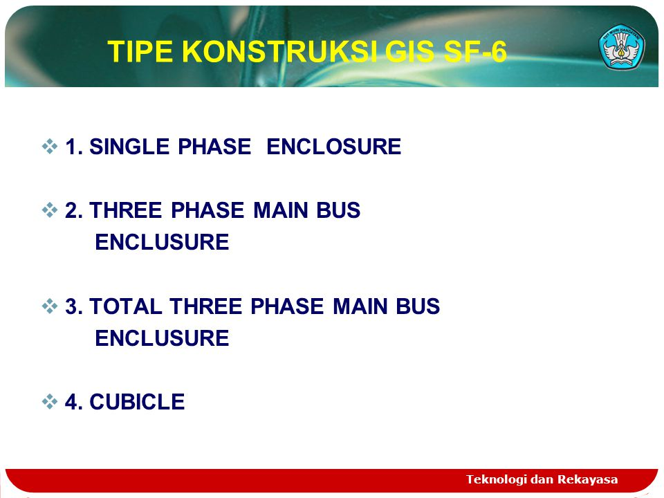 Teknologi dan Rekayasa TIPE KONSTRUKSI GIS SF-6  1. SINGLE PHASE ENCLOSURE  2. THREE PHASE MAIN BUS ENCLUSURE  3. TOTAL THREE PHASE MAIN BUS ENCLUS