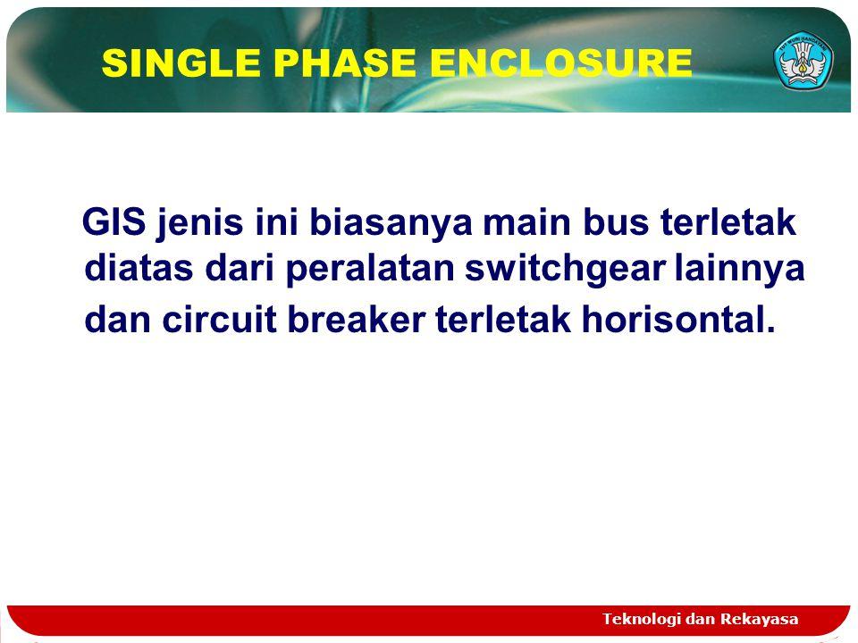 Teknologi dan Rekayasa SINGLE PHASE ENCLOSURE GIS jenis ini biasanya main bus terletak diatas dari peralatan switchgear lainnya dan circuit breaker te