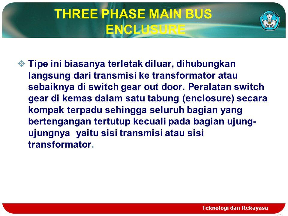 Teknologi dan Rekayasa THREE PHASE MAIN BUS ENCLUSURE  Tipe ini biasanya terletak diluar, dihubungkan langsung dari transmisi ke transformator atau s