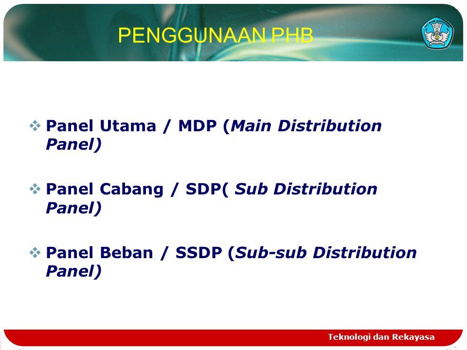 Teknologi dan Rekayasa PENGGUNAAN PHB  Panel Utama / MDP (Main Distribution Panel)  Panel Cabang / SDP( Sub Distribution Panel)  Panel Beban / SSDP