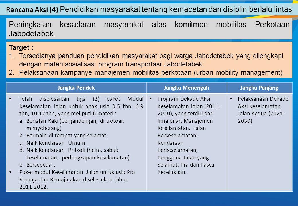 Rencana Aksi (4) Pendidikan masyarakat tentang kemacetan dan disiplin berlalu lintas Target : 1.Tersedianya panduan pendidikan masyarakat bagi warga Jabodetabek yang dilengkapi dengan materi sosialisasi program transportasi Jabodetabek.
