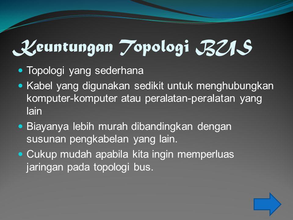 Keuntungan Topologi BUS  Topologi yang sederhana  Kabel yang digunakan sedikit untuk menghubungkan komputer-komputer atau peralatan-peralatan yang lain  Biayanya lebih murah dibandingkan dengan susunan pengkabelan yang lain.