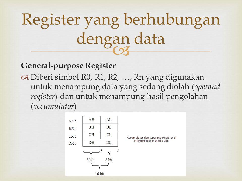  General-purpose Register  Diberi simbol R0, R1, R2, …, Rn yang digunakan untuk menampung data yang sedang diolah ( operand register ) dan untuk men