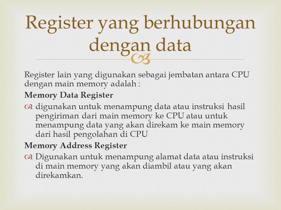  Register lain yang digunakan sebagai jembatan antara CPU dengan main memory adalah : Memory Data Register  digunakan untuk menampung data atau inst