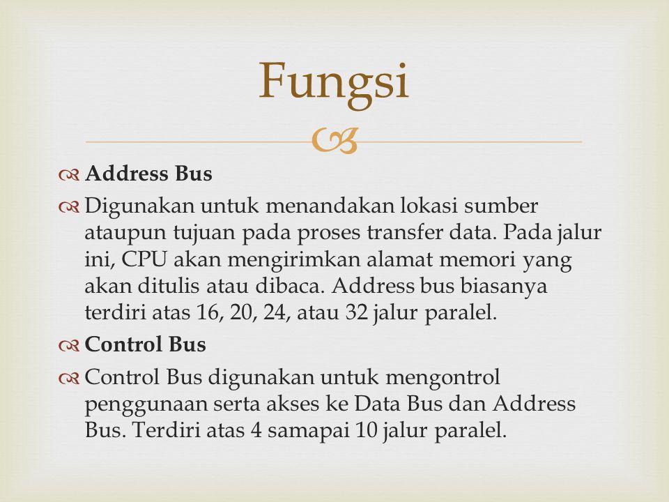   Address Bus  Digunakan untuk menandakan lokasi sumber ataupun tujuan pada proses transfer data. Pada jalur ini, CPU akan mengirimkan alamat memor