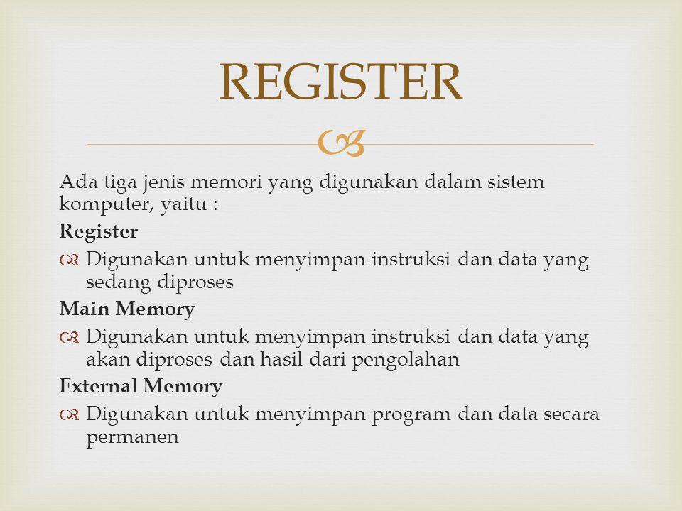  Ada tiga jenis memori yang digunakan dalam sistem komputer, yaitu : Register  Digunakan untuk menyimpan instruksi dan data yang sedang diproses Mai