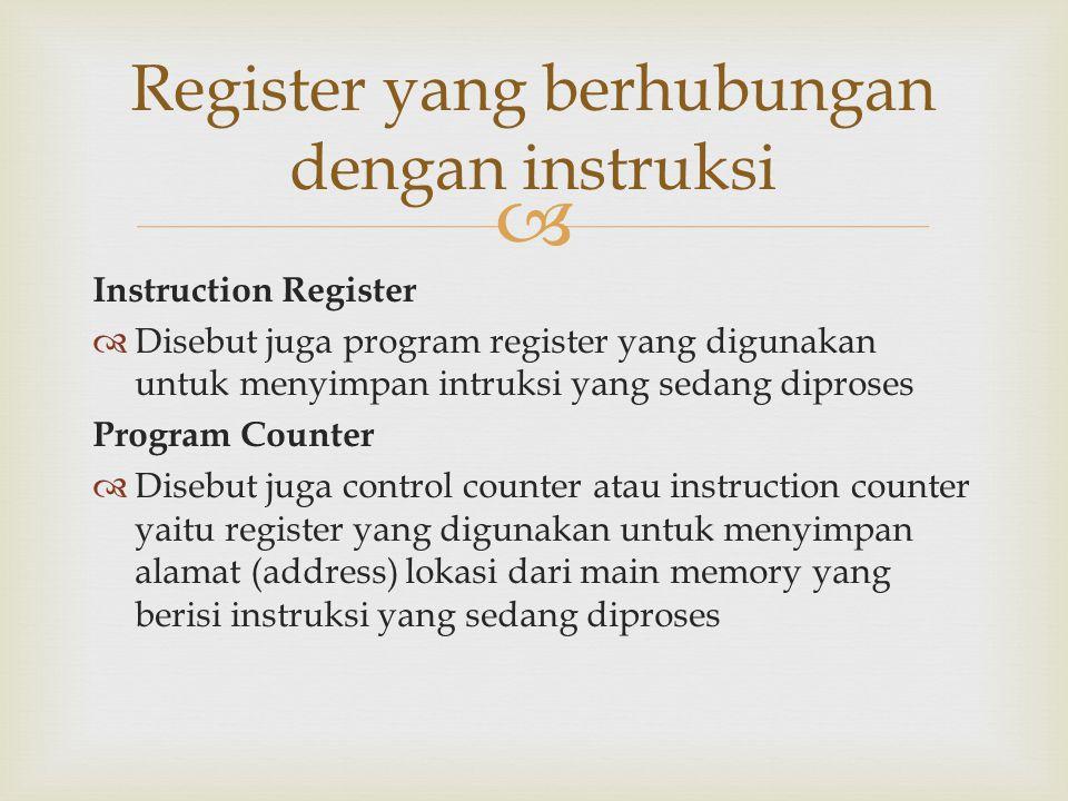  Instruction Register  Disebut juga program register yang digunakan untuk menyimpan intruksi yang sedang diproses Program Counter  Disebut juga con
