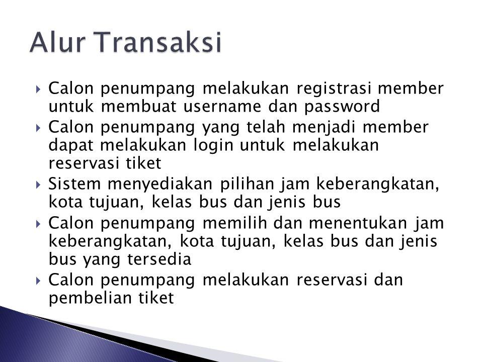  Calon penumpang melakukan registrasi member untuk membuat username dan password  Calon penumpang yang telah menjadi member dapat melakukan login un