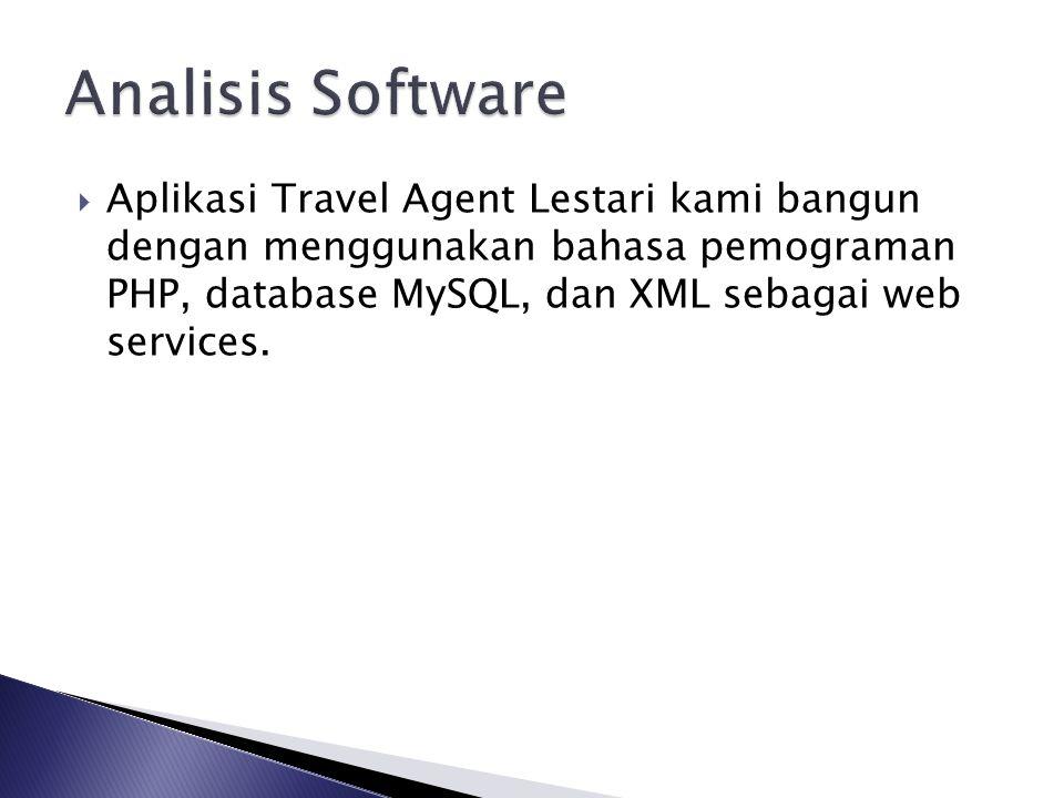  Aplikasi Travel Agent Lestari kami bangun dengan menggunakan bahasa pemograman PHP, database MySQL, dan XML sebagai web services.