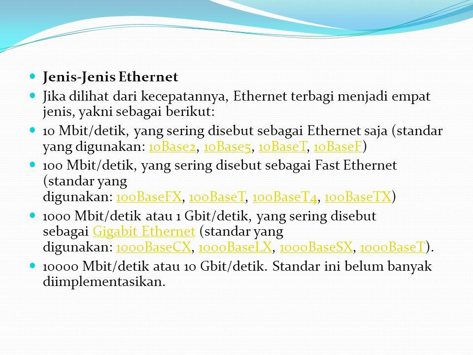  Jenis-Jenis Ethernet  Jika dilihat dari kecepatannya, Ethernet terbagi menjadi empat jenis, yakni sebagai berikut:  10 Mbit/detik, yang sering dis