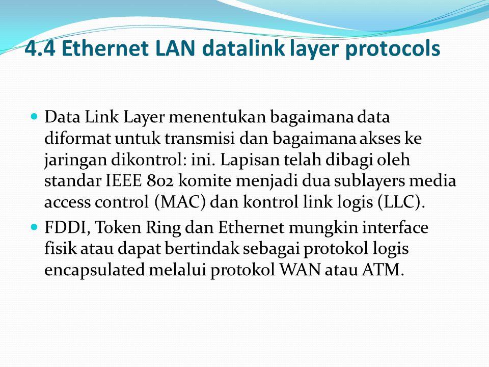 4.4 Ethernet LAN datalink layer protocols  Data Link Layer menentukan bagaimana data diformat untuk transmisi dan bagaimana akses ke jaringan dikontr