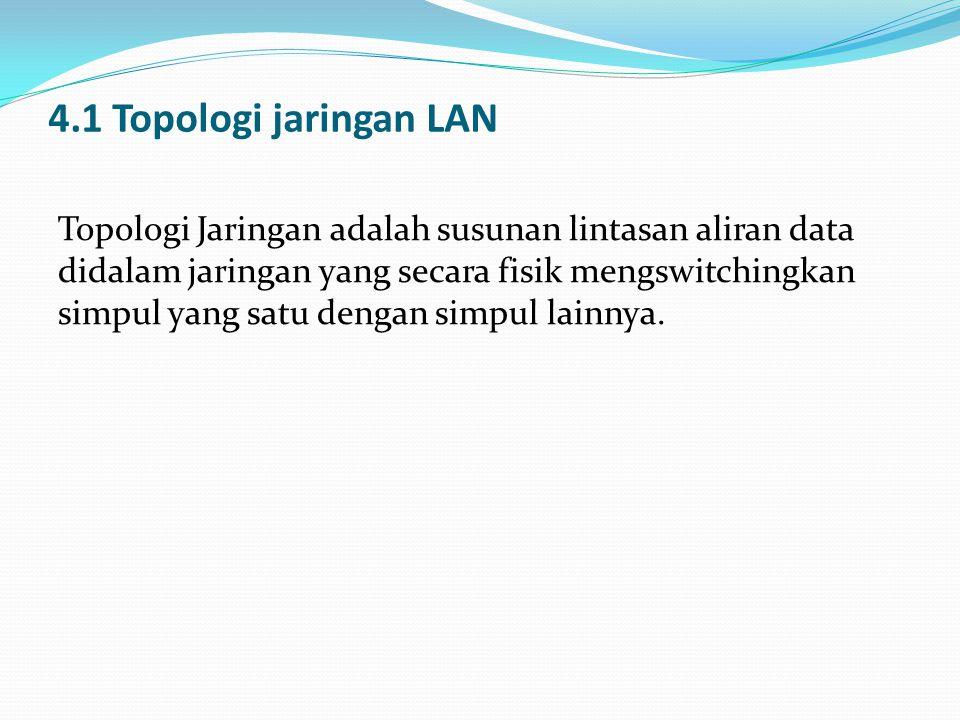4.1 Topologi jaringan LAN Topologi Jaringan adalah susunan lintasan aliran data didalam jaringan yang secara fisik mengswitchingkan simpul yang satu d